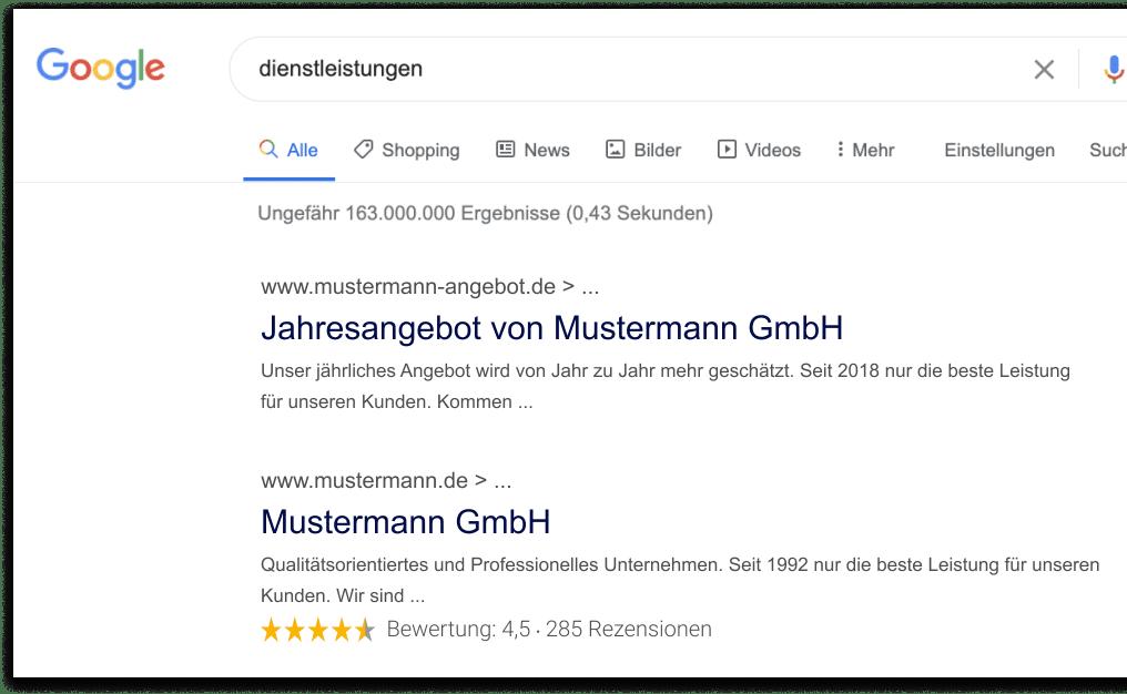 Bewertungssterne in Google-Suche